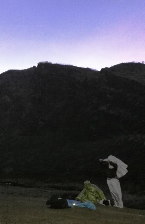 Morning prayer on Ijen Crater
